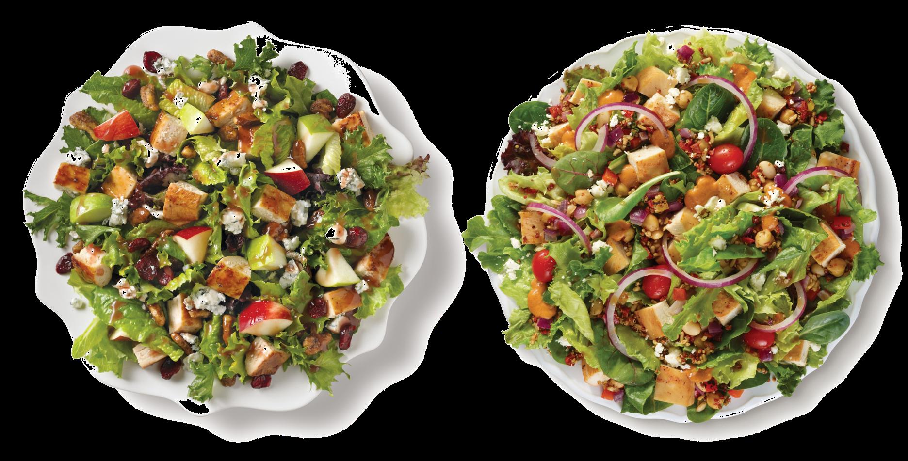 (Left to Right) Apple Pecan Chicken Salad & Power Mediterranean Chicken Salad