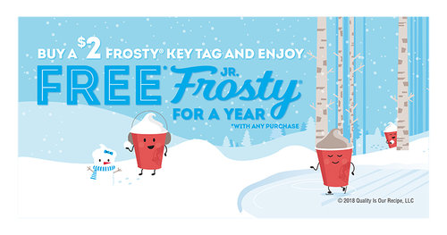 Wendys FROSTY KEY TAGS NEW FOR 2020~FREE Frosty Jr With Purchase All Year