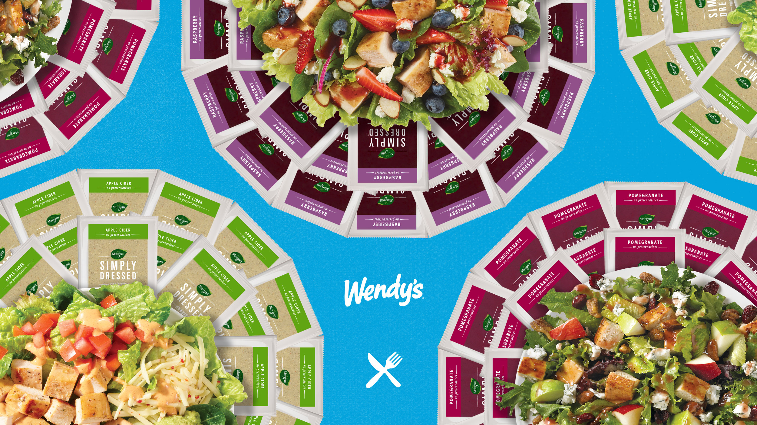 Wendy's salads are full of fresh ingredients and dressed with delicious dressings from Marzetti® Simply Dressed line of salad dressings.