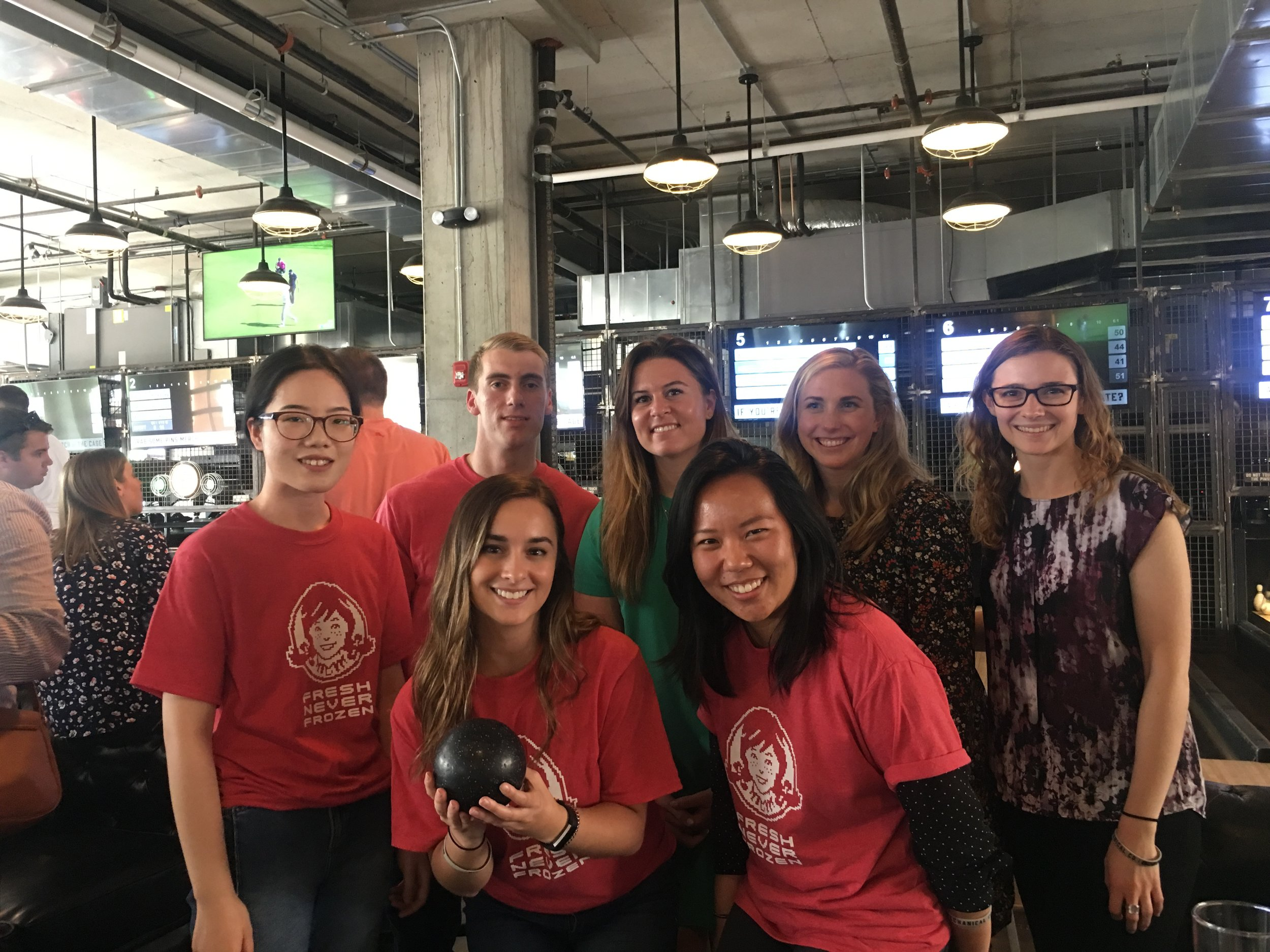 But it wasn't all work! The Wendy's Intern Class of 2019 found time to have hangout together outside of work and have a little fun at the bowling alley.