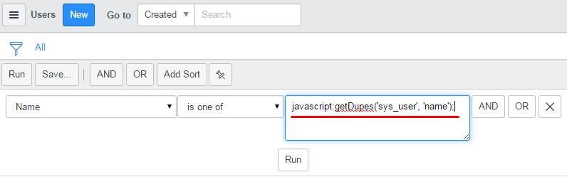 ServiceNow: using javascript in a query builder query