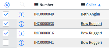 servicenow incident list with list choice ui action checkboxes selected