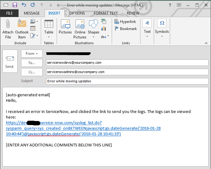ServiceNow Log Link in Email