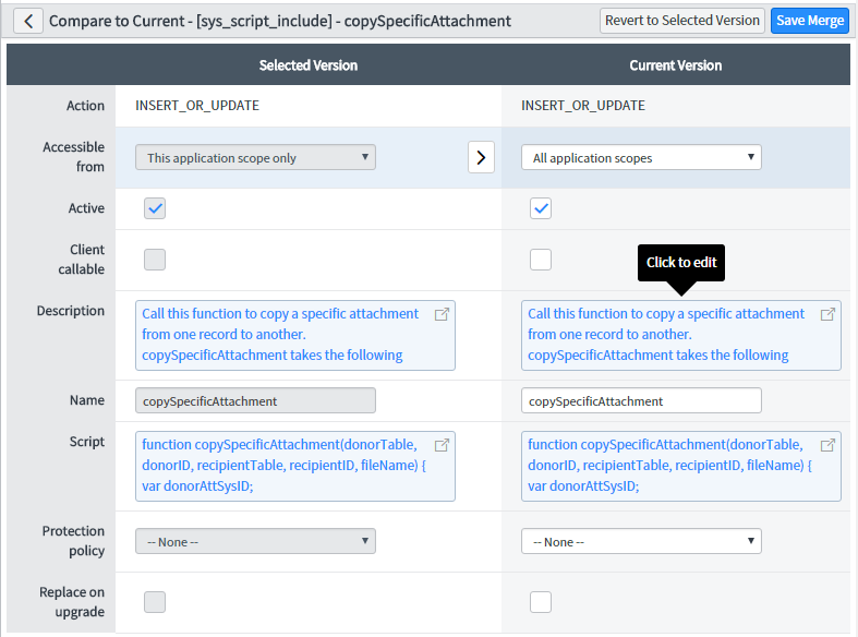 ServiceNow new merging compare tool