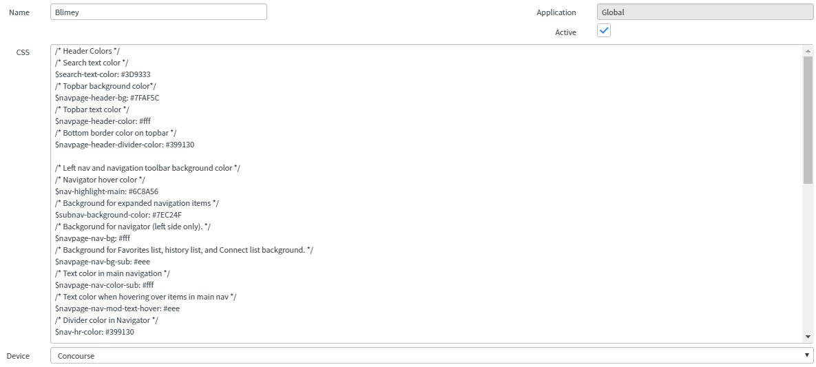 servicenow custom themes configuration form