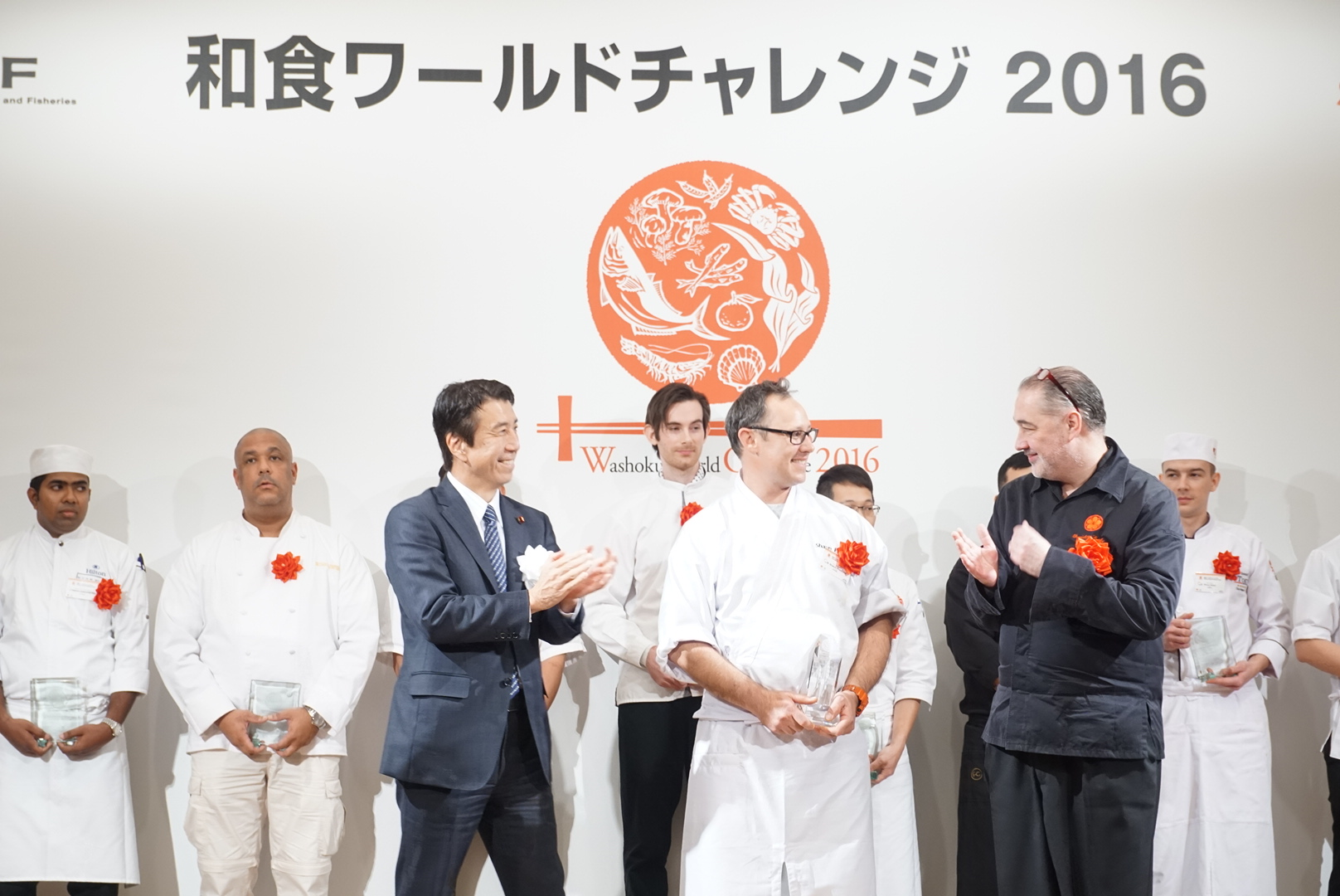 Sean Presland (centre) winning second place at the World Washoku Challenge 2016