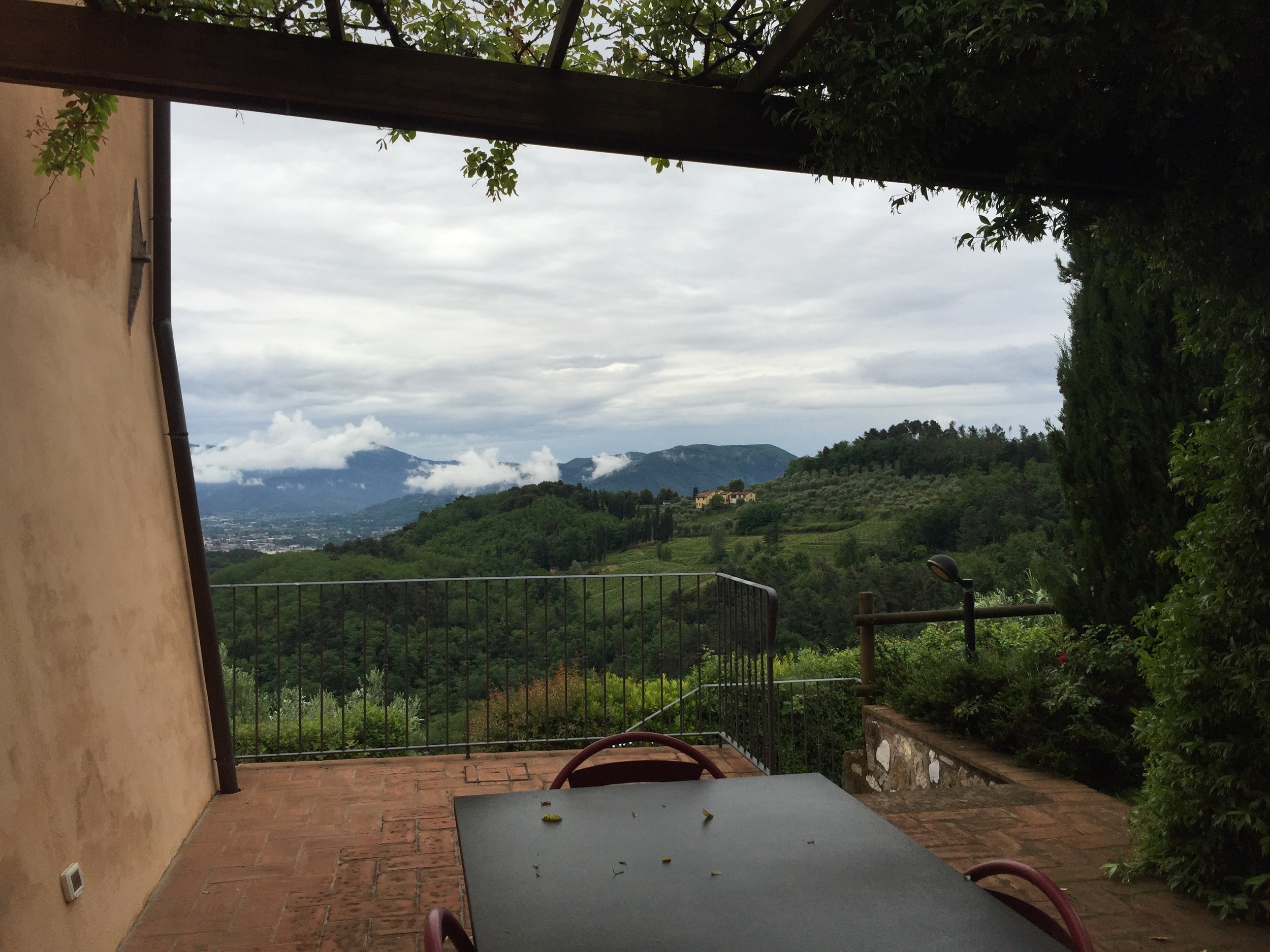 The view from my bedroom on the first day we woke up in Tuscany on last year's trip.