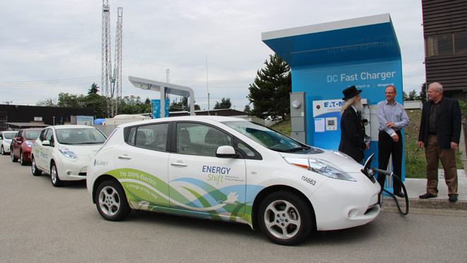 SURREY – Electric vehicle owners can celebrate Canada Day early and travel further this holiday weekend thanks to the opening of the first fast charging station in the province at BC Hydro's Powertech facility in Surrey.