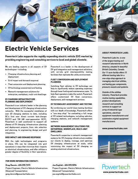 ELECTRIC VEHICLE SERVICES — Powertech Labs