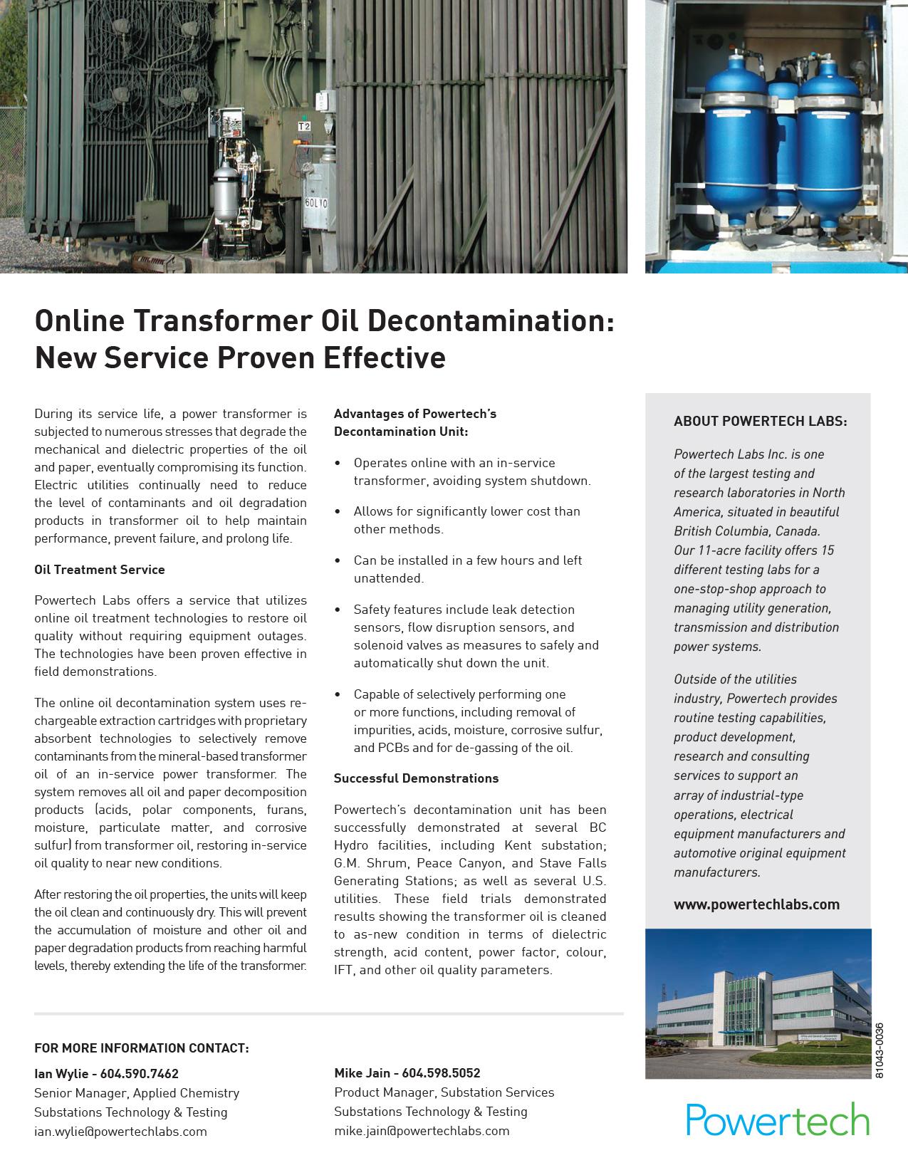 IN-SERVICE TRANSFORMER DECONTAMINATION UNIT — Powertech Labs