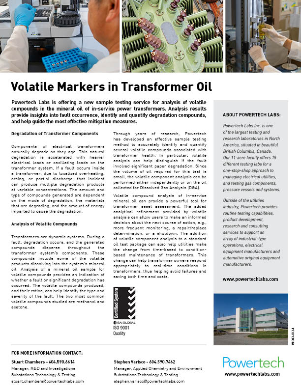 VOLATILE MARKERS IN TRANSFORMER OIL — Powertech Labs