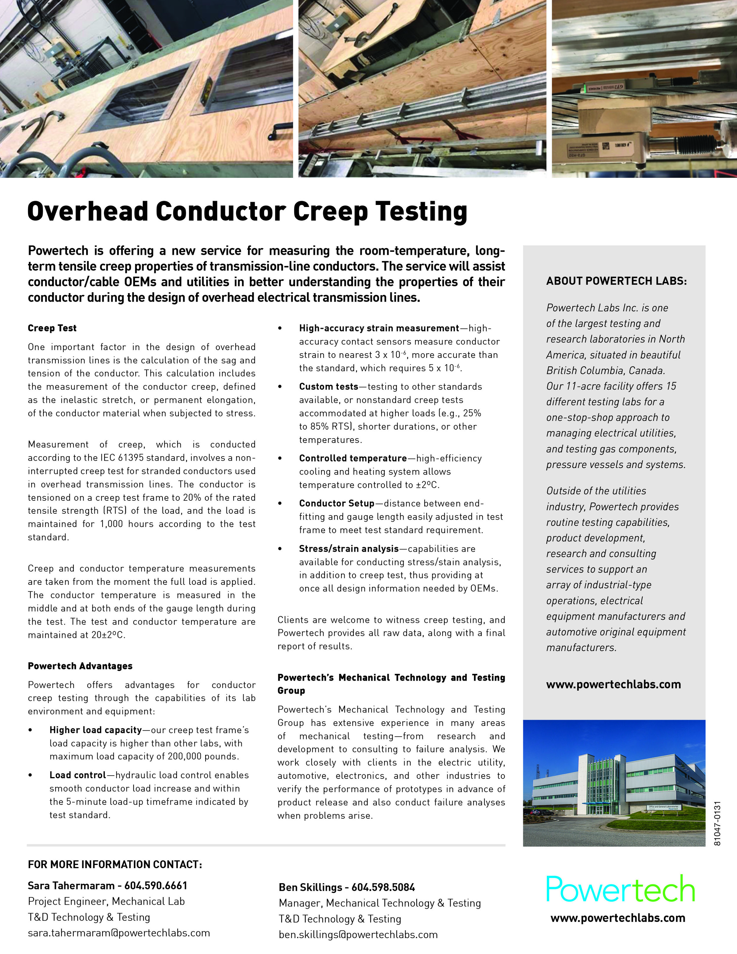 OVERHEAD CONDUCTOR CREEP TESTING — Powertech Labs