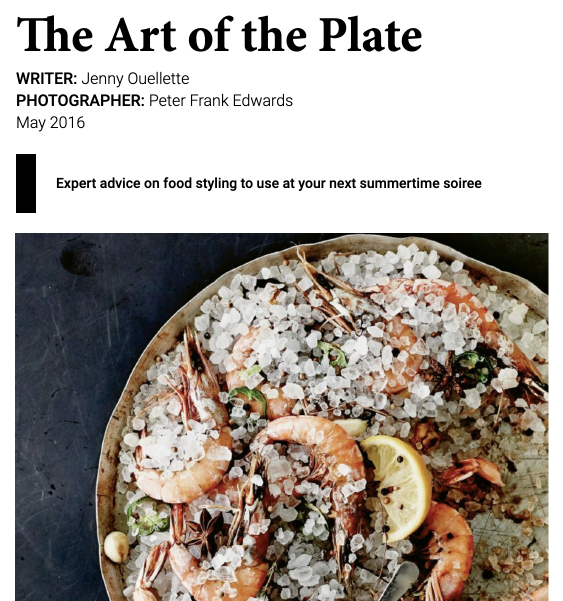 Charleston Magazine - The Art of the Plate
