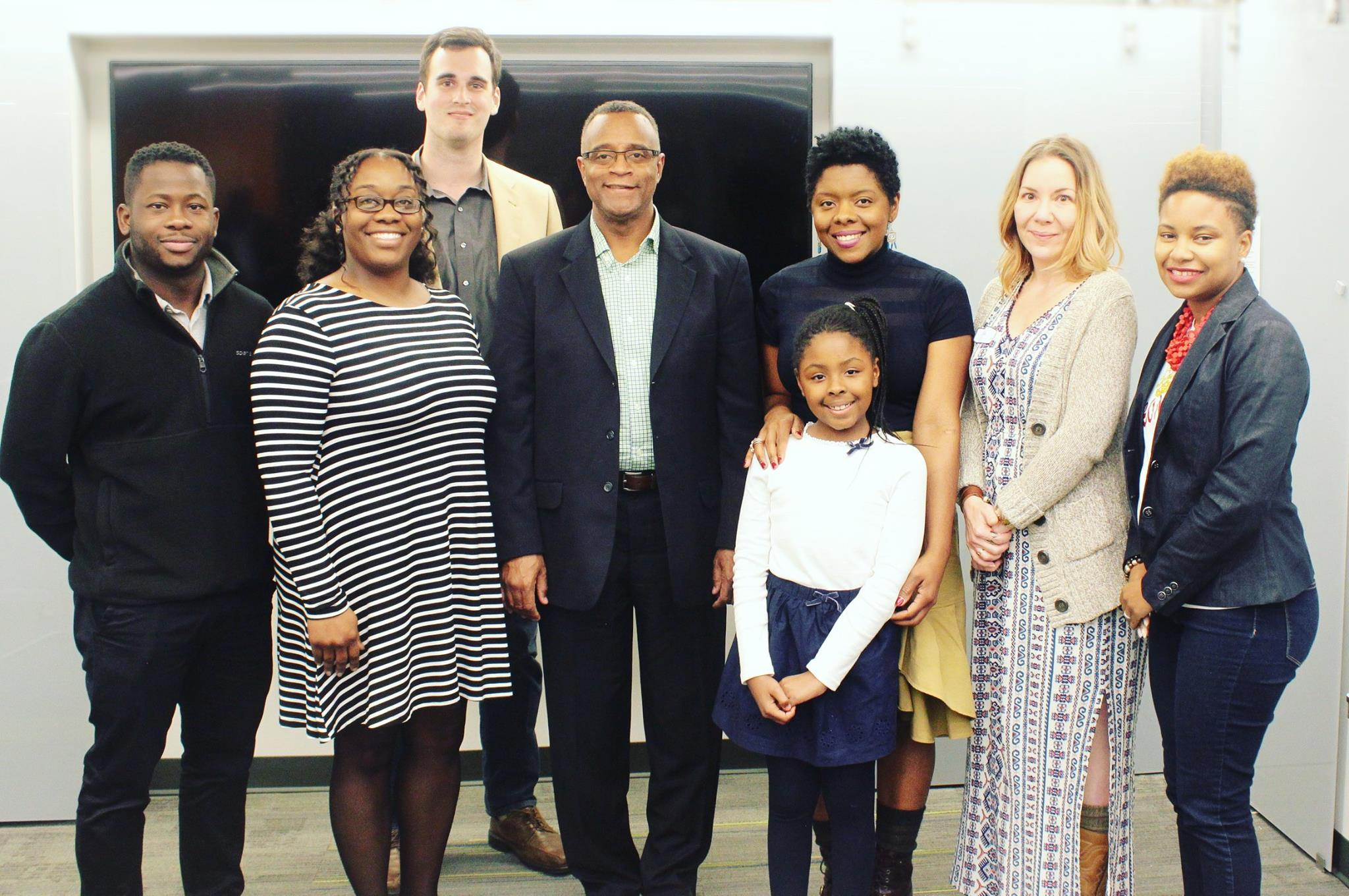 From left to right: Ademola Kassim (judge); Sonia Deal, DEAL-C2; Wyatt Gutierrez (judge); Stanley Franklin, Franklin Staffing Solutions; Grace Griffin and daughter, Tendresse and Sage; Alicia Lohmar, Ladybits Toiletries; Devon Graham (judge).