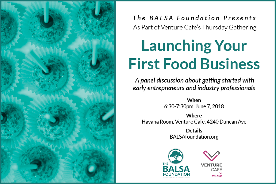 The Food Entrepreneurship event will take place at Venture Cafe 6:30-7:30pm June 7, 2018.