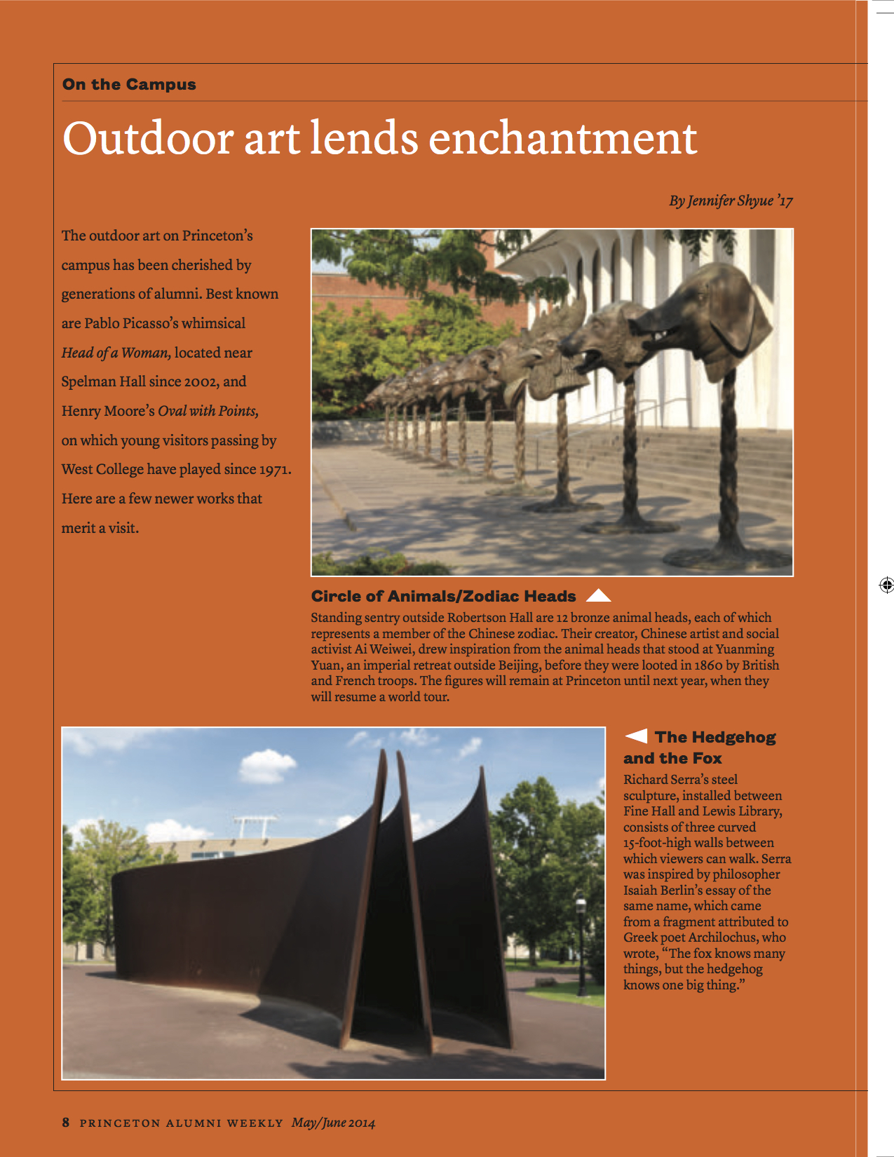 Guide to Princeton University's newest outdoor art and sculptures in Princeton Alumni Weekly Reunions Guide