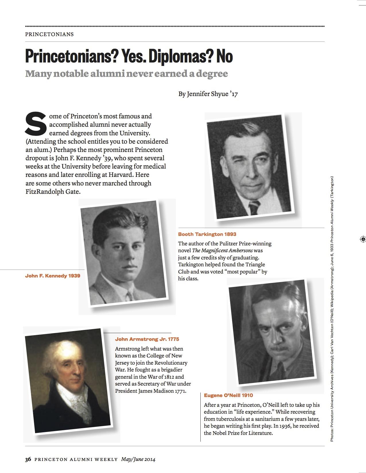 List of famous Princeton University alumni who didn't graduate in Princeton Alumni Weekly Reunions Guide