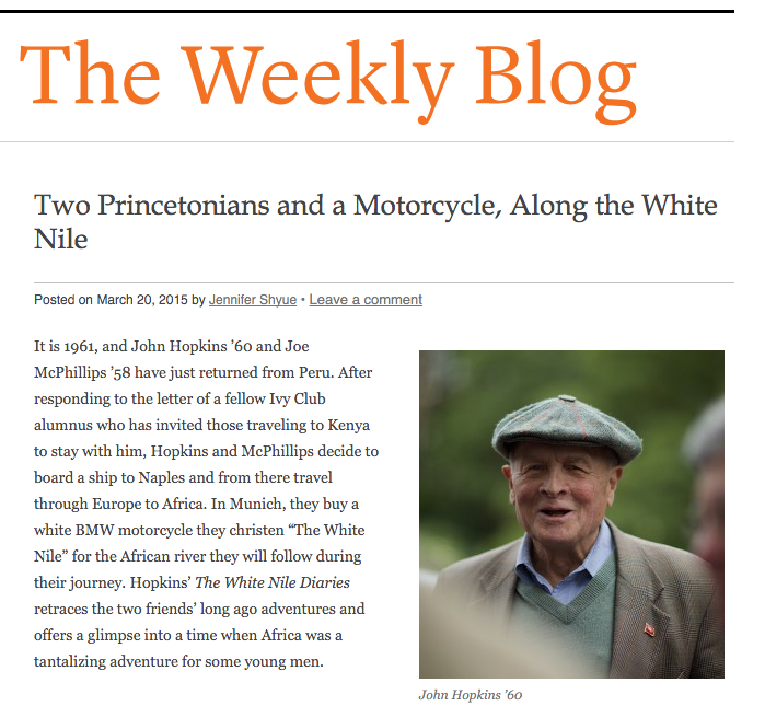 Princeton University alumnus John Hopkins' memoir The White Nile Diaries in Weekly Blog of Princeton Alumni Weekly