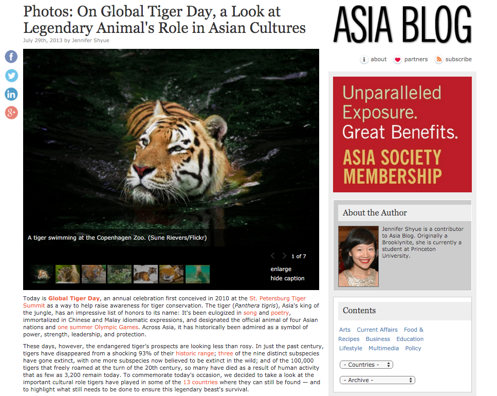 Role of tiger in 3 Asian cultures in Asia Blog of Asia Society