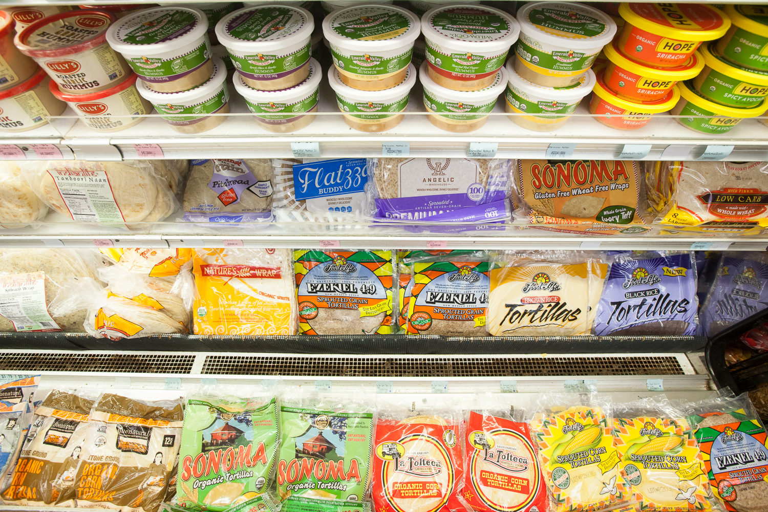 Tortilla, Hummus and Salsa Section of Mana Foods Grocery Department