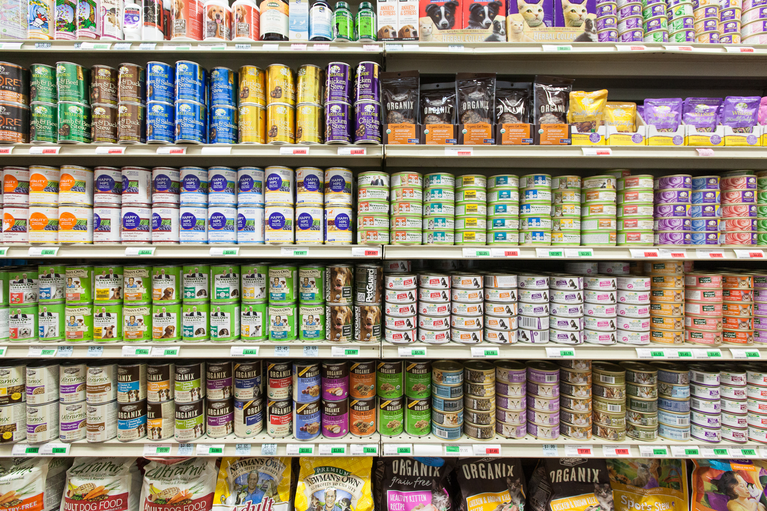 Dog and Cat Food Section of Mana Foods Grocery Department