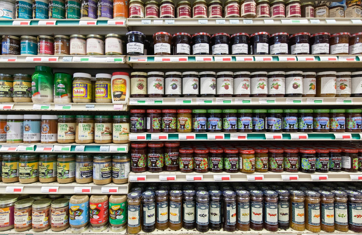 Jam, Jelly and Nut-butter Section of Mana Foods Grocery Department