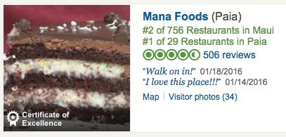 Trip Advisor Ranks Mana Foods Best Restaurant on Maui 2016