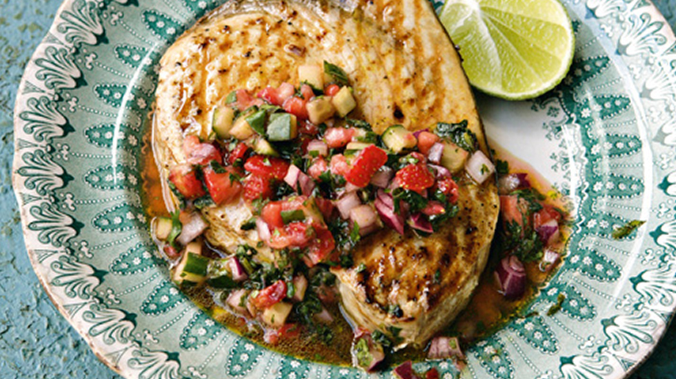 Grilled Swordfish with Strawberry, Cucumber & Cilantro Salsa