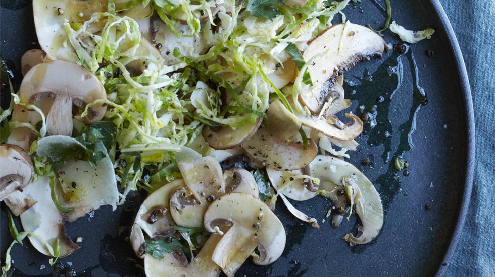 Chestnut Mushroom Carpaccio with Pecorino & Truffle Oil | Photo by  Con Poulos