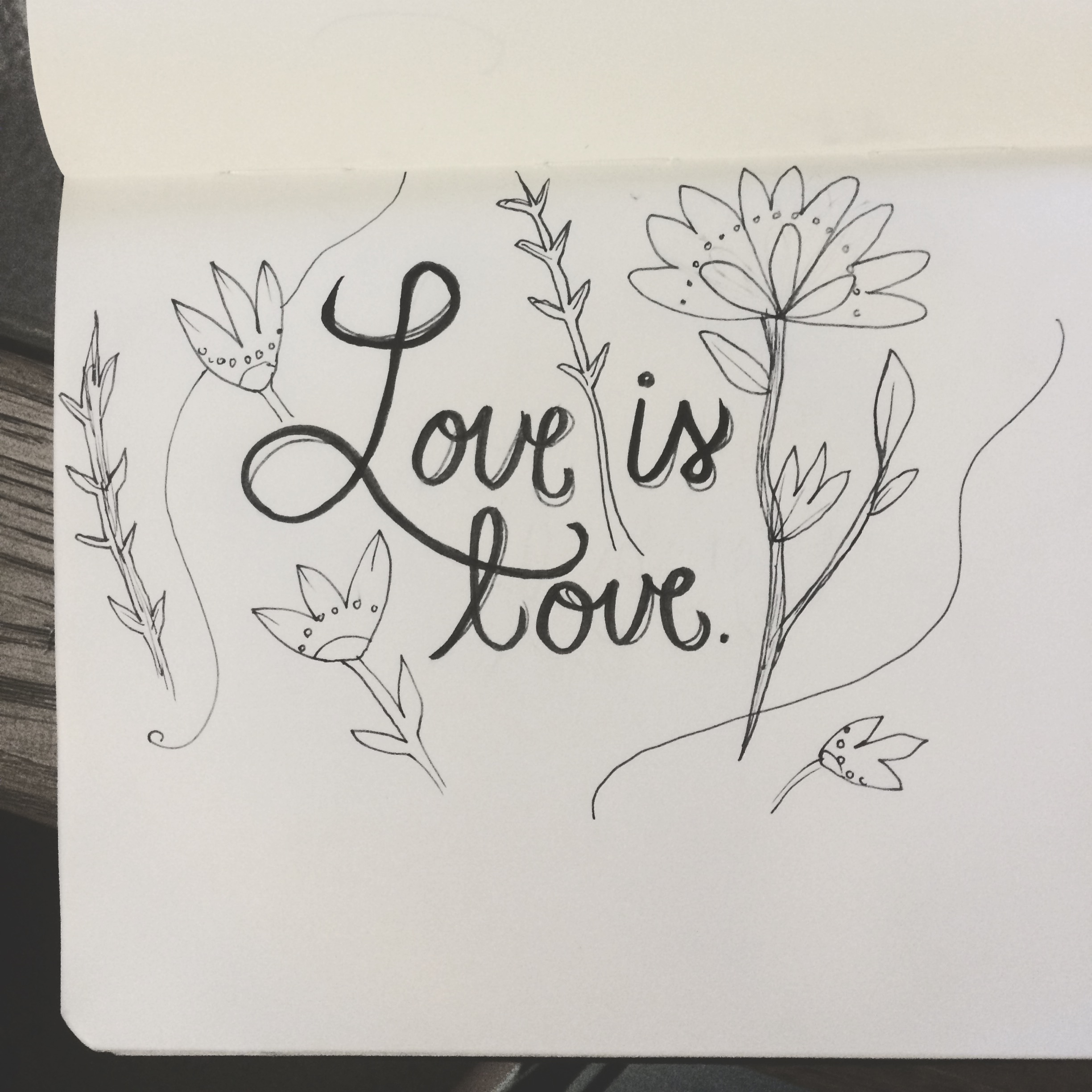 Lil' doodle from my moleskine. Love is love, and it conquers all.