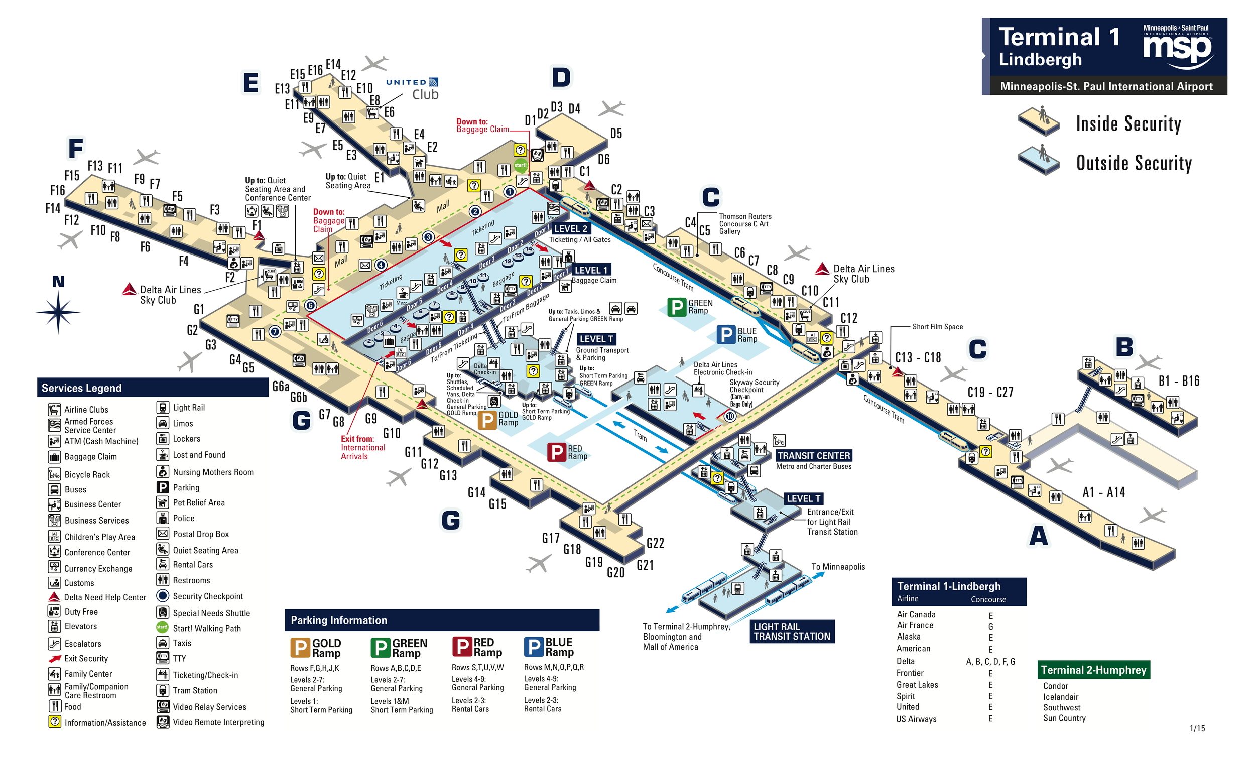 Click to open the Terminal 1 map (MSP Airport)