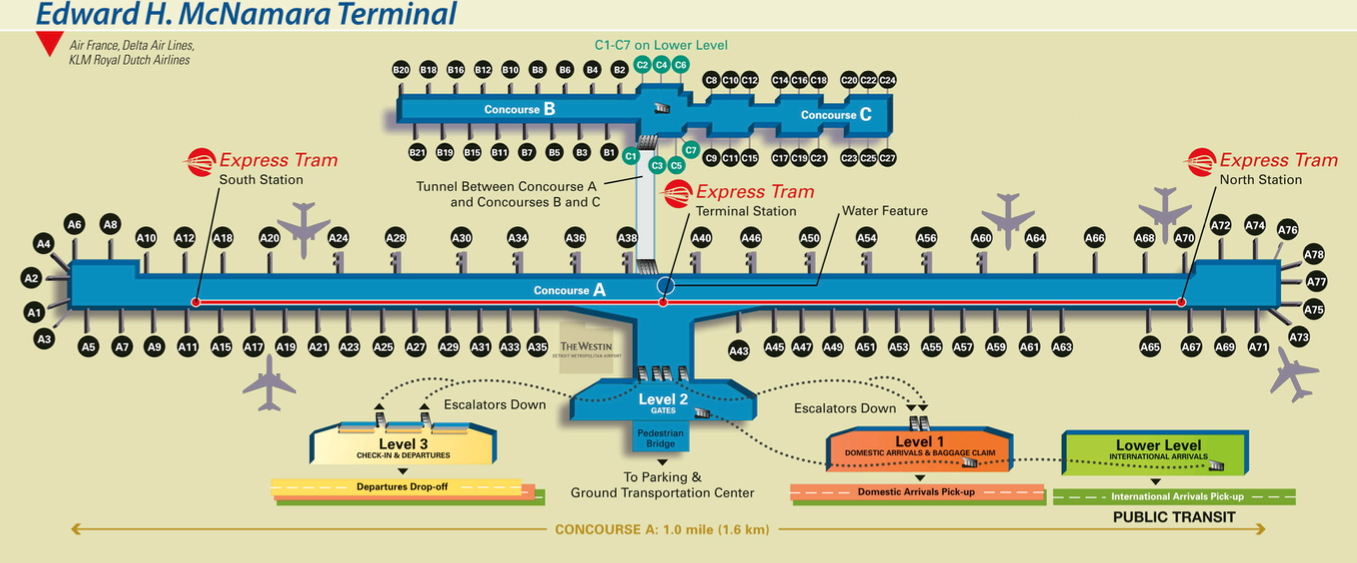 Click this image to open terminal maps (Wayne County Airport Authority)