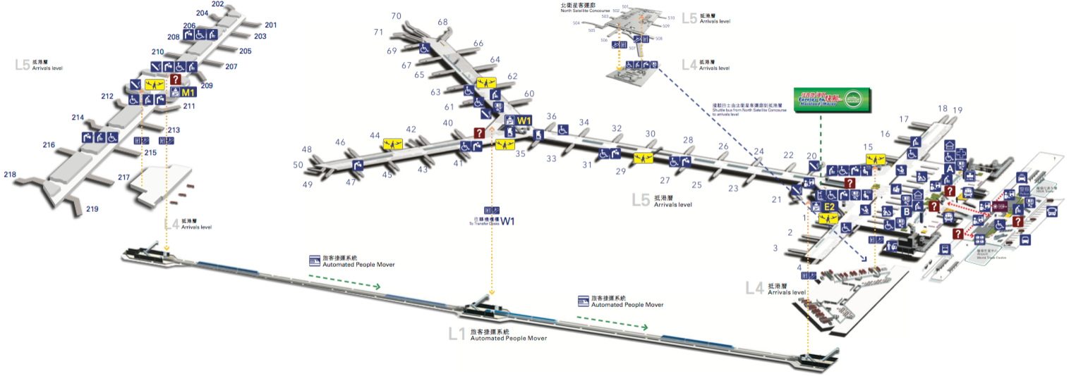 Click on this graphic to open a PDF of the airport facilities (Airport Authority Hong Kong)
