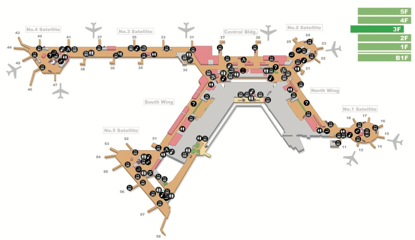 Click on this image to open the Narita Terminal 1 and Terminal 2 guide maps. (Narita Airport Authority)