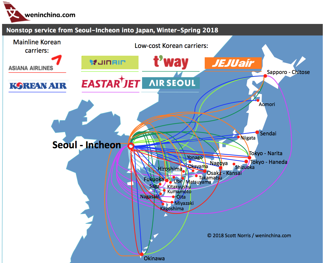 Incheon offers better connectivity to more Japanese airports than can be had through Tokyo-Narita, including several low-cost carriers. (Click to enlarge.)
