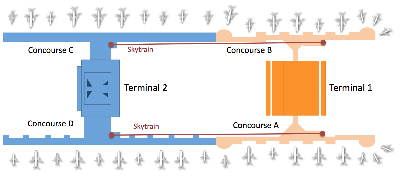 Click to open the airport's facilities and gate map