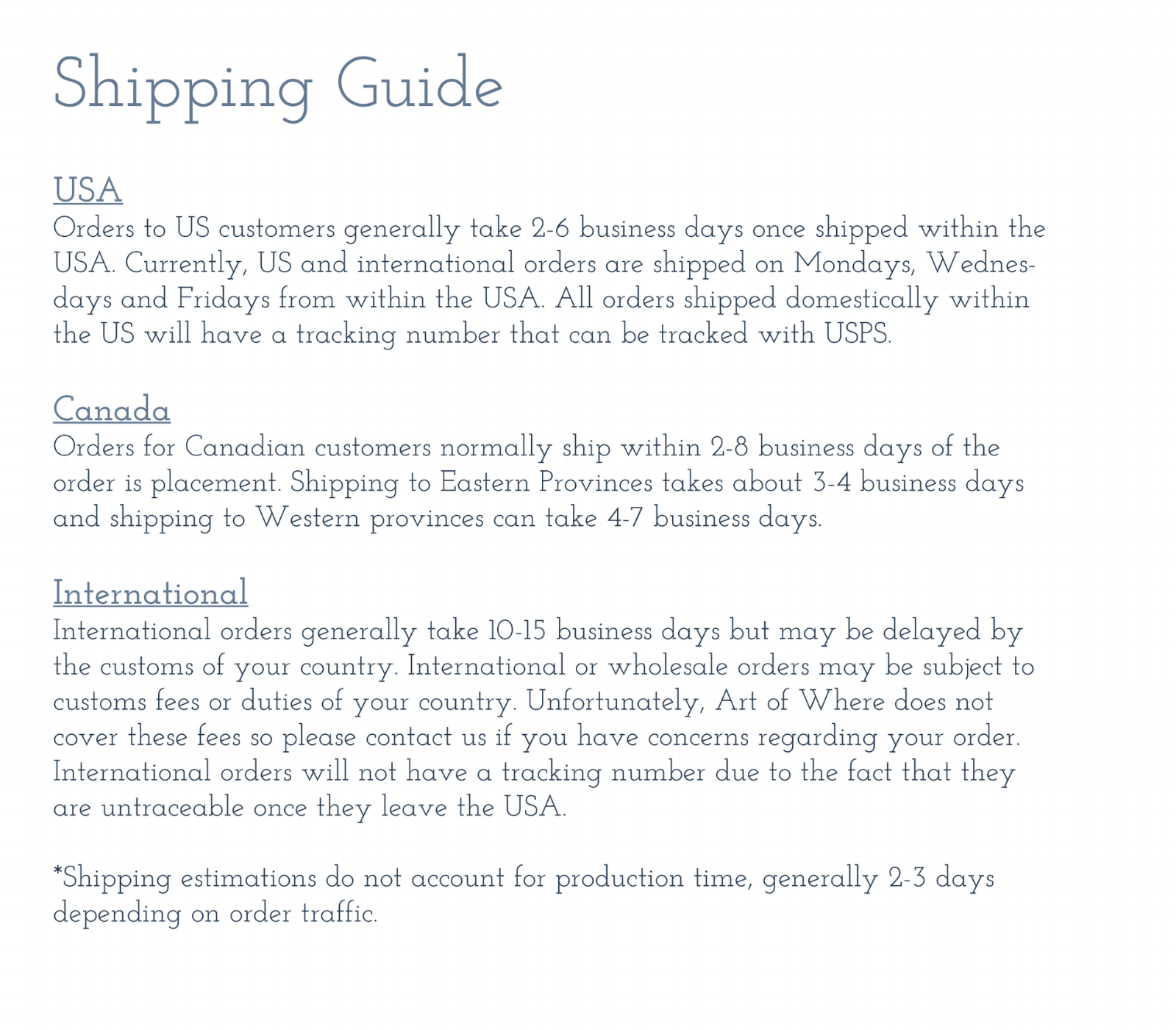 Shipping Guidelines