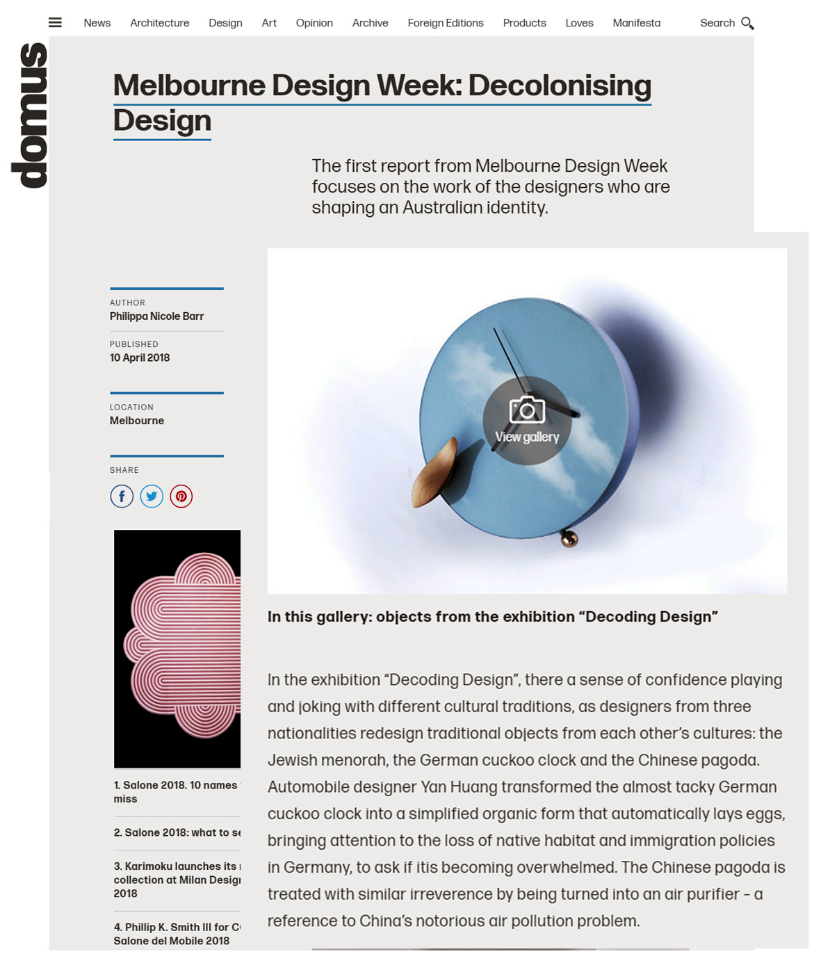 Decoding design was featured at Domus design 10 April, 2018