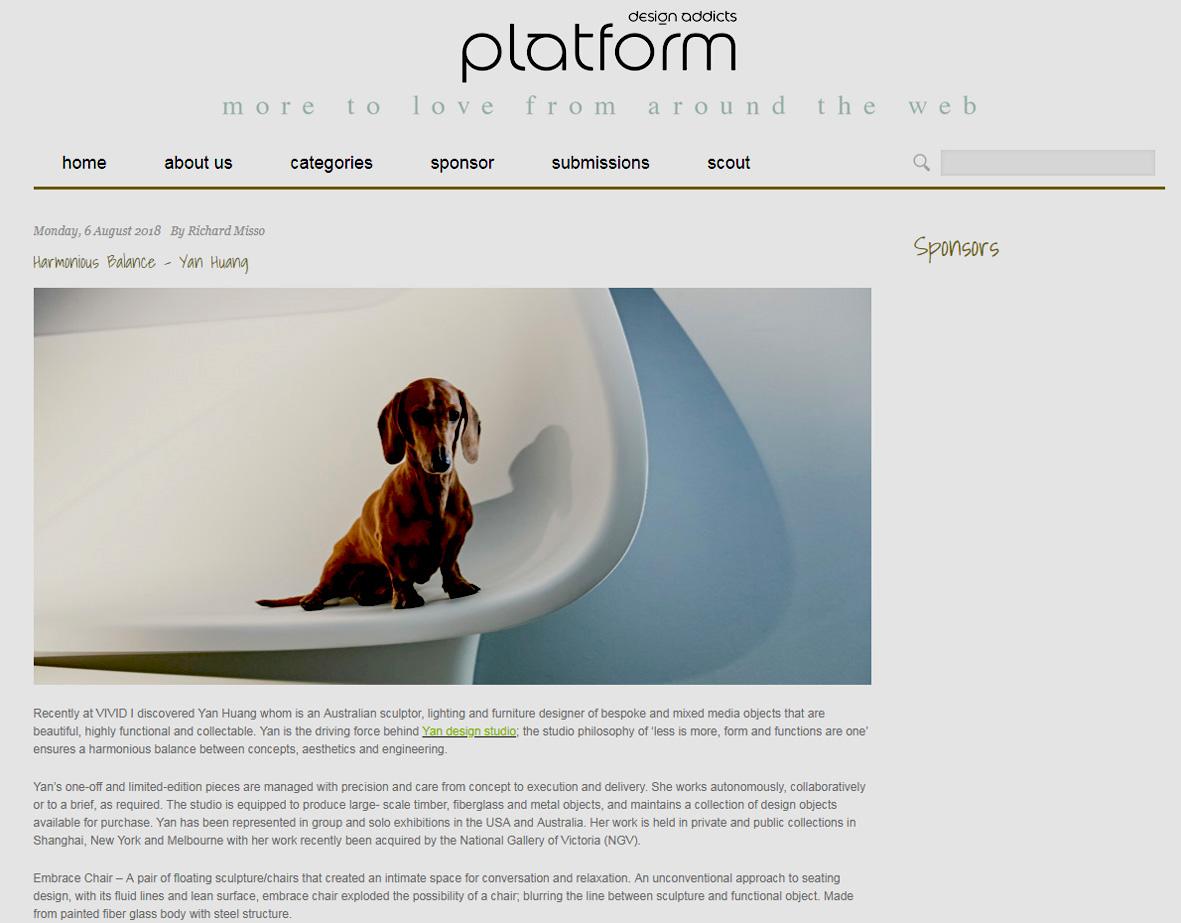 A write up on Design addicts platform 6 August 2018.    http://designaddicts.com.au/platform/2018/08/06/harmonious-balance-yan-huang/
