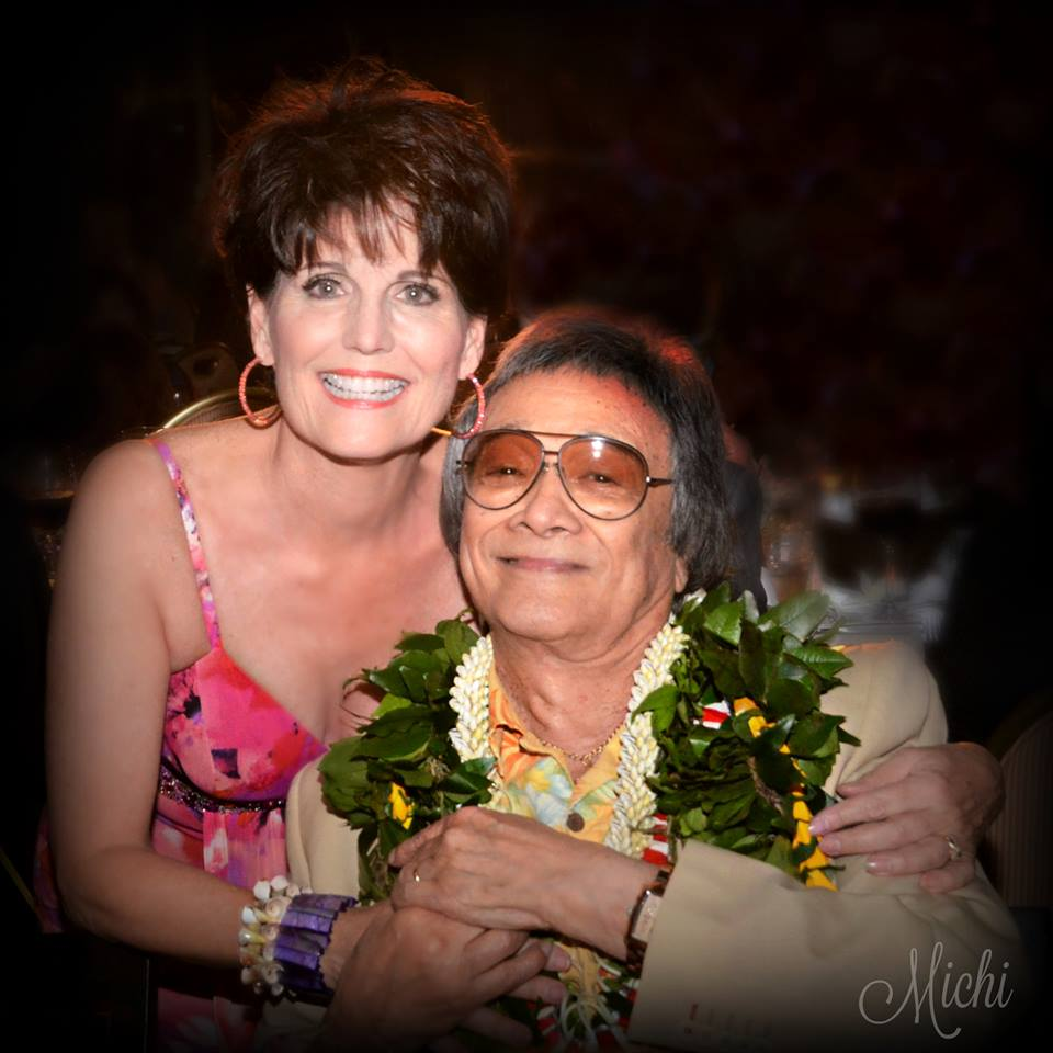 Lucie Arnaz and longime friend and mentor, Jimmy Borges, at his benefit concert on January 30, 2016, Honolulu. Photo by Michiko Moore.