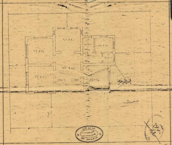 Plan drawing for the Khalaf Tell house - 1938.   مخطط البناء لمنزل خلف التل - ١٩٣٨