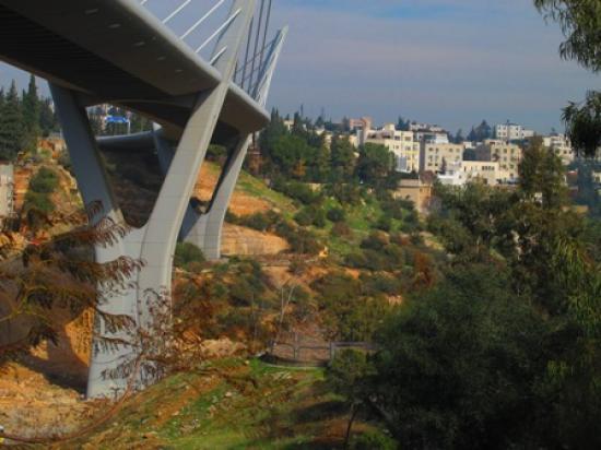 Partial view of the park and bridge taken from the south showing the park's lookout area   لقطة جزئية للحديقة والجسر مأخوذة من الجنوب تبين المساحة المطلة على وادي عبدون