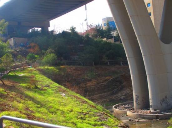 View of the park taken from the north showing planted terraces in the background and graffiti at the  base of one of the bridge's pylons لقطة للحديقة مأخوذة من الشمال تبين المدرجات المزروعة في خلفية الصورة وكتابات على إحدى قواعد الجسر