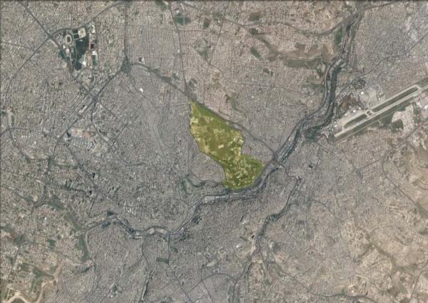 Aerial view showing the Royal Court Compound   لقطة جوية تبين قصور رغدان الملكية