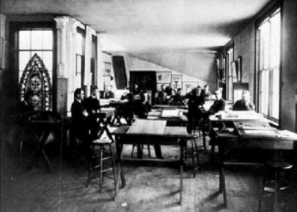 Figure 1: An MIT architectural design studio from the late nineteenth century.