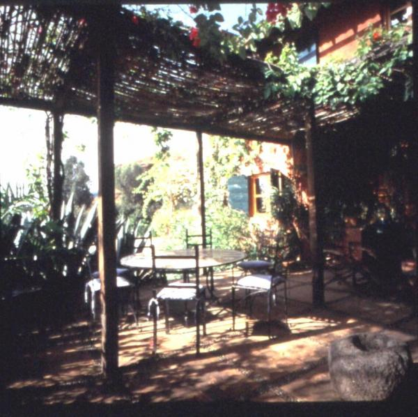 Fig. 9: A landscape design featuring an oasis-like shaded area with a patio.