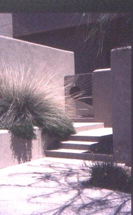 Fig. 12: The use of smooth-finished stucco in a landscape design.