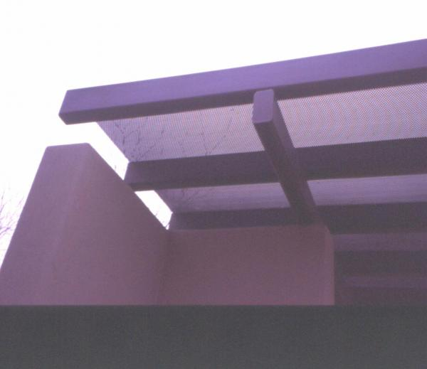 Fig. 16: The use of a steel ramada as a shade-providing element in a landscape design.
