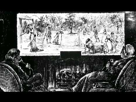 Figure 4: A futuristic drawing from the 1870s printed in the humor magazine Punchthat shows a mother and father in England carrying out the equivalent of a video conference with members of their family in Sri Lanka.