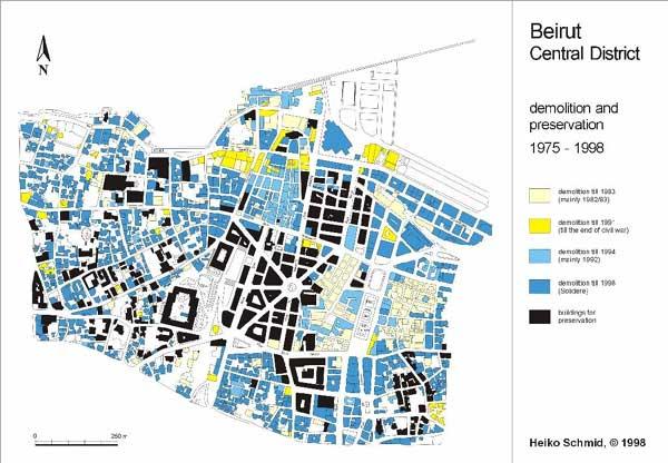 Figure 7: Beirut's war-destroyed fabric, post-war destroyed fabric, and preserved fabric.